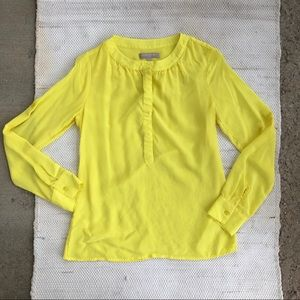 Yellow banana republic silk long sleeve blouse
